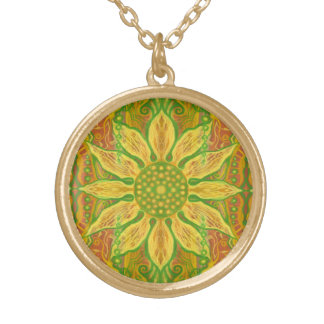 Sun Flower bohemian floral art yellow green orange Gold Plated Necklace