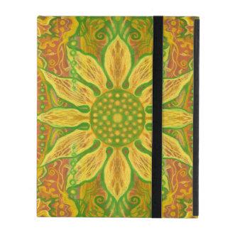 Sun Flower bohemian floral art yellow green orange iPad Cover