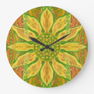 Sun Flower bohemian floral art yellow green orange Large Clock