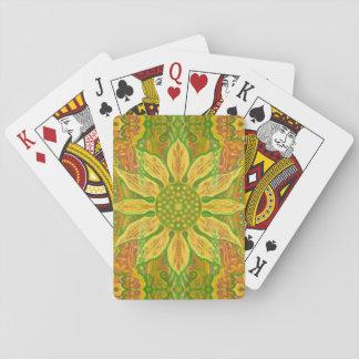 Sun Flower bohemian floral art yellow green orange Playing Cards
