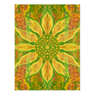 Sun Flower bohemian floral art yellow green orange Postcard