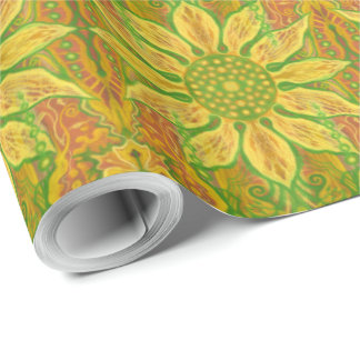 Sun Flower bohemian floral art yellow green orange Wrapping Paper