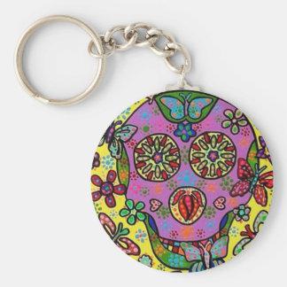 Sun Flower Butterfly Sugar Skull Basic Round Button Keychain