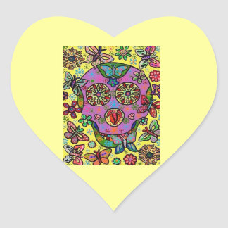 Sun Flower Butterfly Sugar Skull Heart Sticker