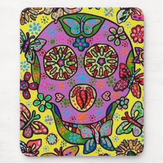 Sun Flower Butterfly Sugar Skull Mouse Pad