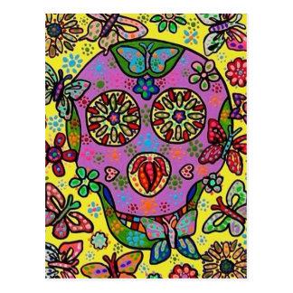 Sun Flower Butterfly Sugar Skull Postcard