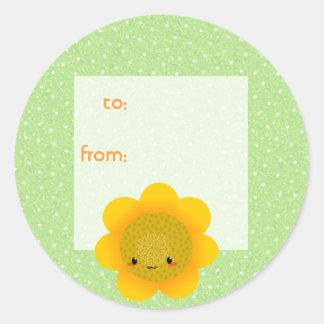 sun flower classic round sticker