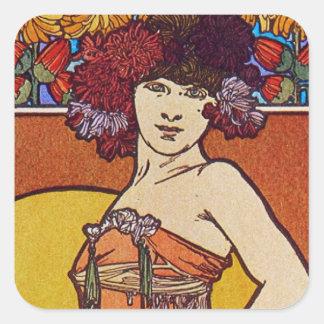 Sun Flower Goddess Square Stickers