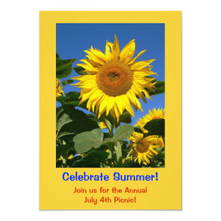 Sun Flower Invitation Card for a Summer Party