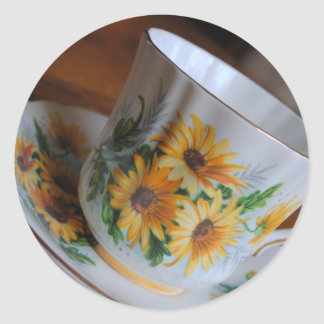 Sun Flower Tea Cup Stickers