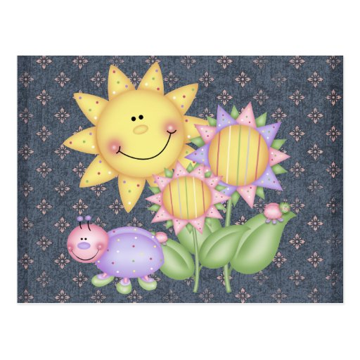 Sun Flowers and Bugs Post Card
