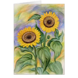 Sun Flowers At Dawn by Jude Maceren.com Greeting Card