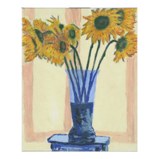 Sun Flowers in a Blue Vase Poster