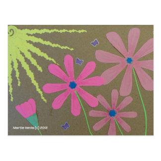 Sun & Flowers - Scrapbook Post Card
