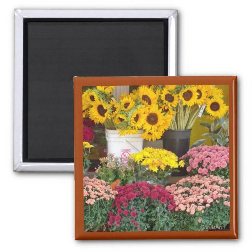 Sun Flowers Stand 2 Inch Square Magnet