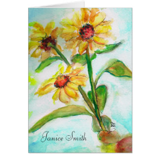 Sun Fower Watercolor Cards