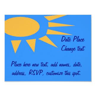 Sun Frame Blue 4.25x5.5 Paper Invitation Card