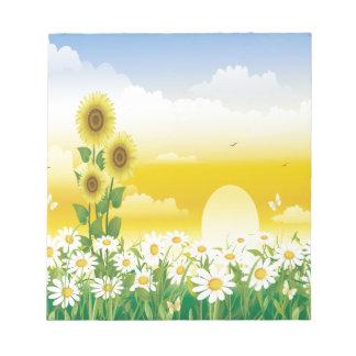 Sun girasoles flores blancas blocs de notas