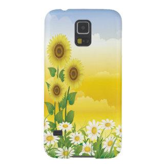 Sun, girasoles, flores blancas funda de galaxy s5