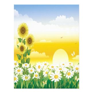 Sun, girasoles, flores blancas membrete a diseño