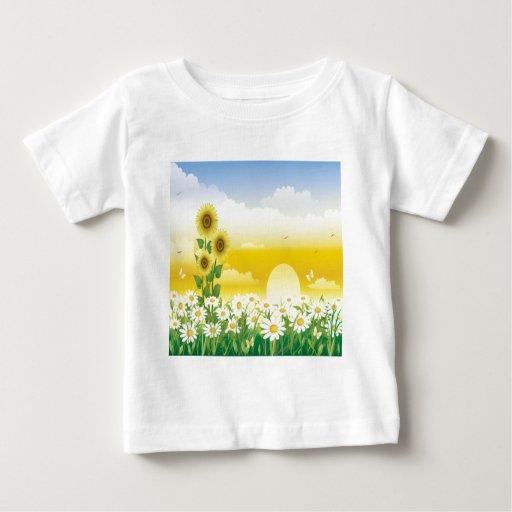 Sun, girasoles, flores blancas t-shirts
