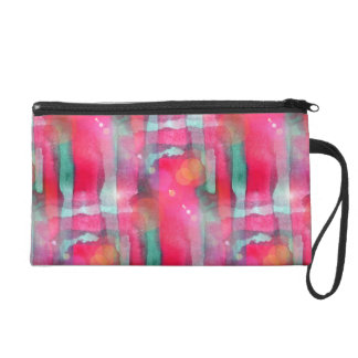 Sun glare abstract painted watercolor wristlet purse