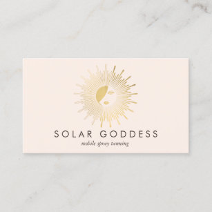 Sun Dess Logo Spray Tanning Salon Pink Business Card