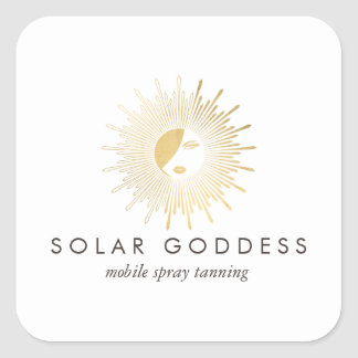 Sun Goddess Girl Logo Spray Tanning Salon Square Sticker