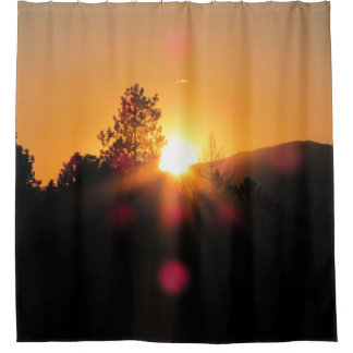 Sun Goes Down Behind Mountain and Trees Shower Curtain