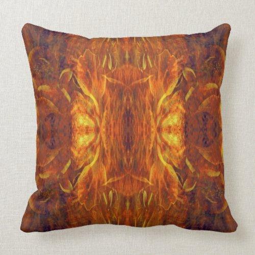 Sun Gold Baroque Cool Abstract Retro Throw Pillow