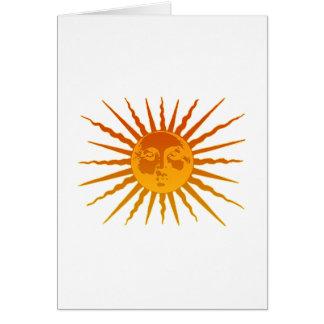 Sun hace frente al icono tarjeta de felicitación