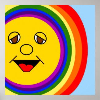 Sun hace frente al poster del arco iris póster