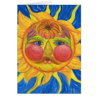Sun hace frente con la fruta, verduras, flores tarjeta de felicitación