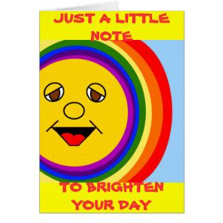 Sun hace frente y arco iris (el espacio en blanco tarjeta pequeña