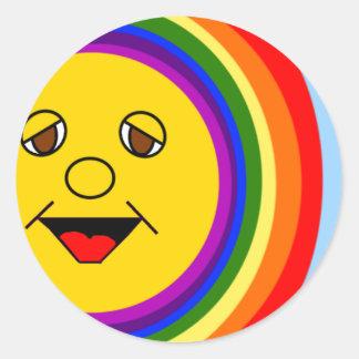 Sun hacen frente y los pegatinas del arco iris pegatina redonda