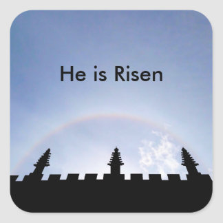 Sun Halo He Is Risen Easter Celebration Square Sticker