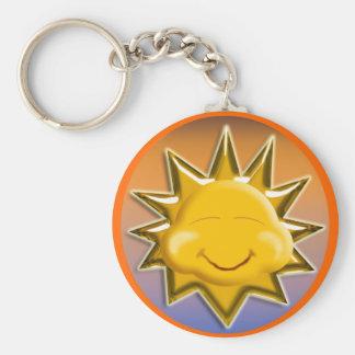 sun happy basic round button keychain