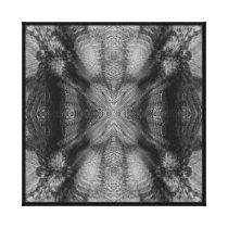 Sun Harmonic Fractal Pattern Black and White Canvas Print