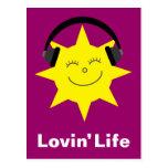 Sun & headphones Lovin' Life postcard