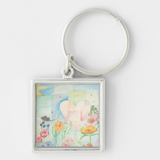 Sun, heart and Flower field watercolor Painting Keychain