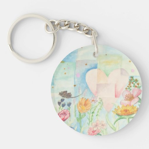 Sun, heart and Flower field watercolor Painting Round Acrylic Key Chains