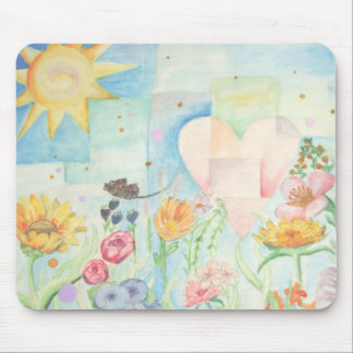Sun, heart and Flower field watercolor Painting Mouse Pad