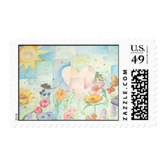Sun, heart and Flower field watercolor Painting Postage Stamp