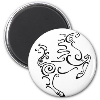 Sun Horse Black Refrigerator Magnet