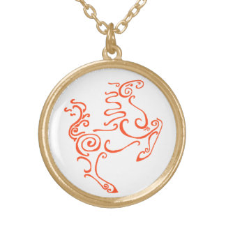 Sun Horse Red Round Pendant Necklace