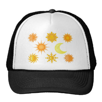 Sun icons set trucker hat