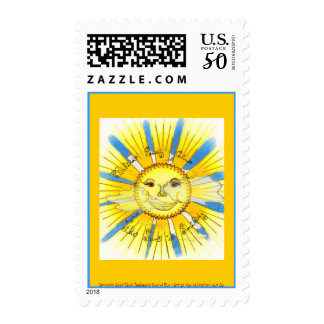 Sun in Clouds - Postage Stamp (bright yellow)