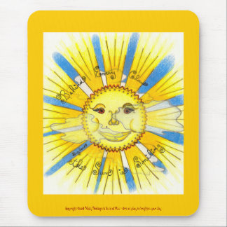 Sun in Clouds - Vertical Mousepad (bright yellow)