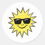 Sun in glasses classic round sticker