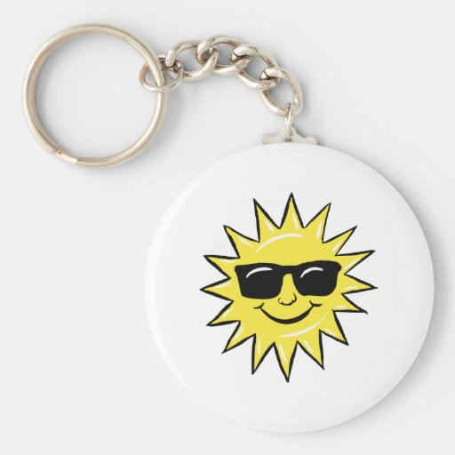 Sun in glasses keychain
